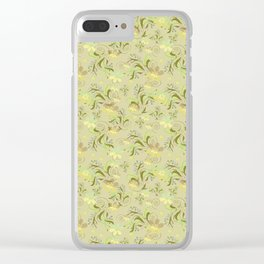 Greenish floral pattern . Clear iPhone Case