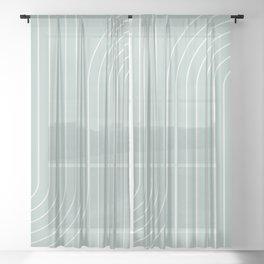 Minimal Line Curvature - Sage Sheer Curtain