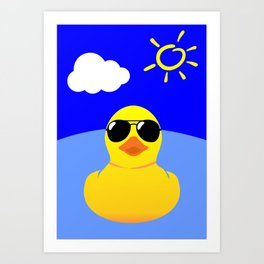 Cool Rubber Duck Yellow Art Print