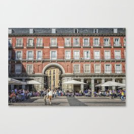 Relaxing cup in Plaza Mayor, Madrid Canvas Print