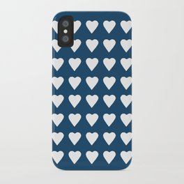 64 Hearts Navy iPhone Case