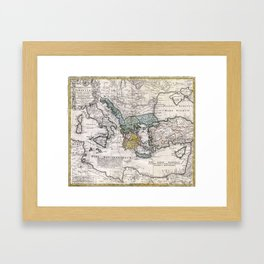 Map of Ancient Greece and the Eastern Mediterranean by Heirs Homann - 1741 Framed Art Print