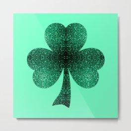 Emerald green shamrock clover sparkles Metal Print