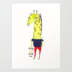 Giraffe Dude. Art Print