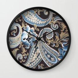 Blue Brown Vintage Paisley Wall Clock