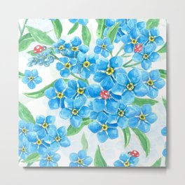 Forget me not seamless floral pattern Metal Print