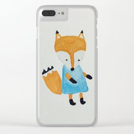 Forest Friends Watercolor Little Fox Clear iPhone Case