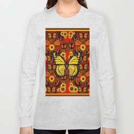 COFFEE BROWN MONARCH BUTTERFLY SUNFLOWERS Long Sleeve T-shirt