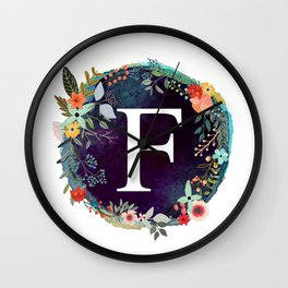 Personalized Monogram Initial Letter F Floral Wreath Artwork Wall Clock