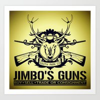 guns Art Prints featuring Jimbo's Guns by Silvio Ledbetter