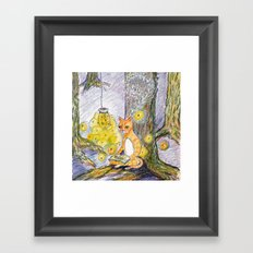 cat reading with fireflies in forest Framed Art Print