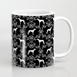 Greyhound floral silhouette black and white minimal dog silhouette dog breed pattern Coffee Mug