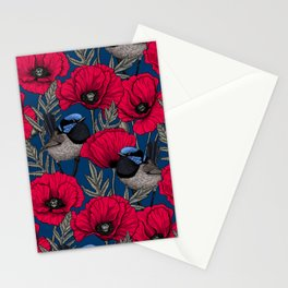 Fairy wren and poppies Stationery Cards