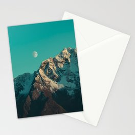 Moon Over Pioneer Peak in Turquoise - Alaska Stationery Cards