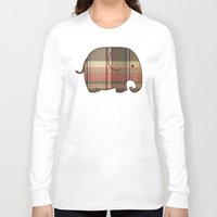 plaid Long Sleeve T-shirts featuring Plaid Elephant  by Terry Fan