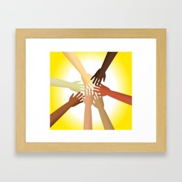 Diverse Hands Framed Art Print