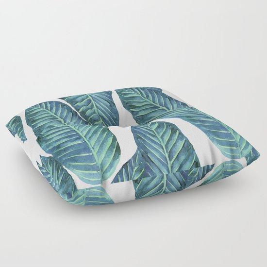 Floor Pillows Society6 : Blue Banana Leaves #society6 Floor Pillow by Wheimay Society6