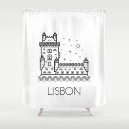Belém Tower Lisbon Portugal Black and White Shower Curtain