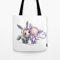 umbreon Tote Bags featuring A Psychic Adoration by Randy C