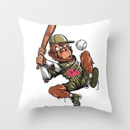Baseball Monkey - Teak Throw Pillow
