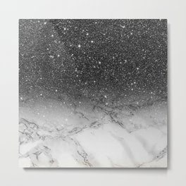 Stylish faux black glitter ombre white marble pattern Metal Print
