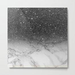 Stylish faux black glitter ombre white marble pattern Metal Print