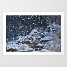 Gazebo, Snowy Night Art Print