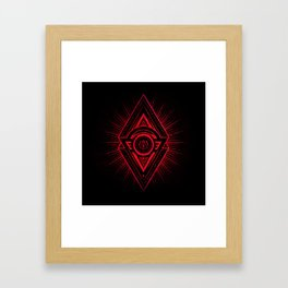 The Eye of Providence is watching you! (Diabolic red Freemason / Illuminati symbolic) Framed Art Print