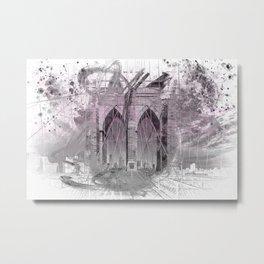 City Art Brooklyn Bridge in Detail | rose Metal Print