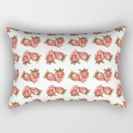Watercolor Strawberry Pattern Rectangular Pillow