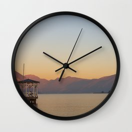 sunset over the quiet waters of Lake Iseo Wall Clock