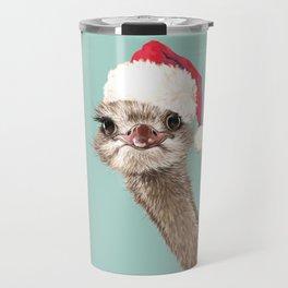 Christmas Ostrich in Green Travel Mug