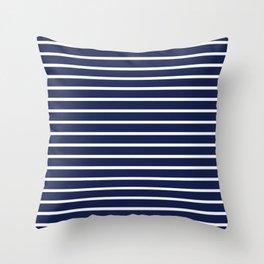 Navy Blue and White Horizontal Stripes Pattern Throw Pillow