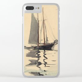 Vintage Schooner Sailboat Watercolor Painting (1894) Clear iPhone Case