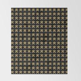 Replica of Pre-Columbian Pectoral Pattern in Gold Leaf on Black Throw Blanket