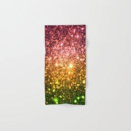 Pink Gold Green Galaxy Sparkle Hand & Bath Towel