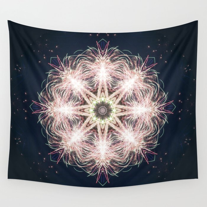 New year colorful sparkly fireworks mandala Wall Tapestry
