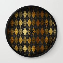 Black and gold geometric abstract pattern II- Luxury design for your home Wall Clock