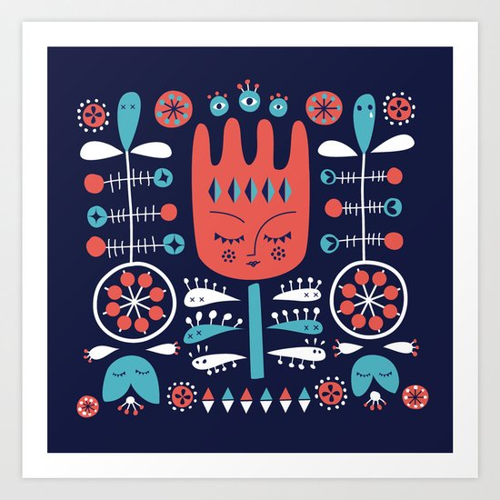 Folksy - Midnight blue Art Print
