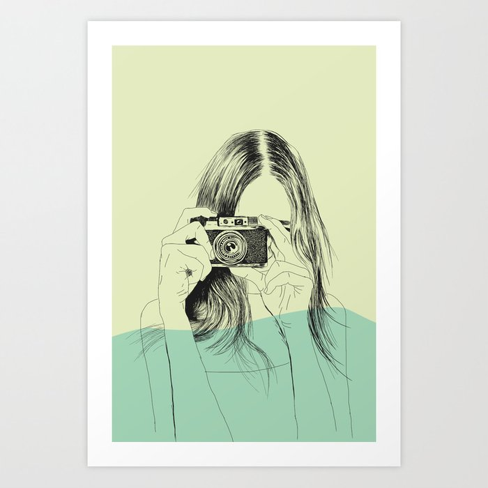 Sunday's Society6 | Color block drawing woman photo art print