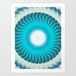 Cyan Glow Kaleidoscope 7 Art Print