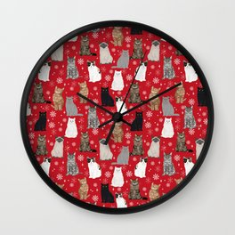Cat red and white snowflakes festive winter gifts for cat person cat lady cat man christmas Wall Clock