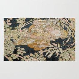 1898 - 1900 Femme a Marguerite by Alphonse Mucha Rug