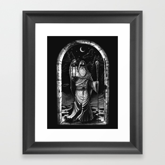 IX. The Hermit Tarot Card Illustration Framed Art Print