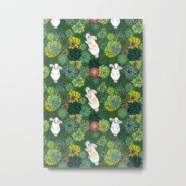 Rabbits in a Succulent Garden Metal Print