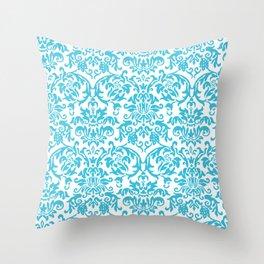 Elegant Damask Pattern (aqua) Throw Pillow