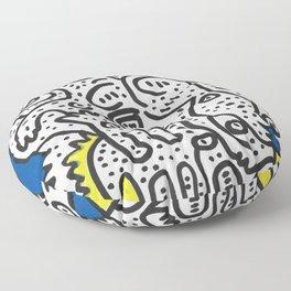 Yellow Blue Graffiti Art Doodle Black and White  Floor Pillow