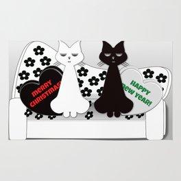 Black and White Cats on Sofa Christmas Rug