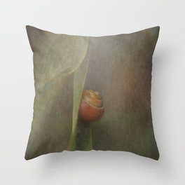 The shy snail Throw Pillow