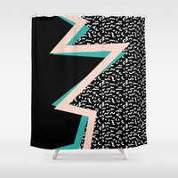 memphis Shower Curtains featuring memphis by jmdphoto